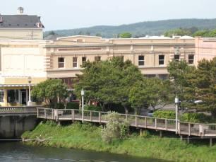 Historic Gilbert Block and the River Walk.