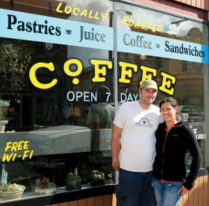 Tim and Michelle Wunderlich, owners of Seaside Coffee Roasters, outside their downtown location.