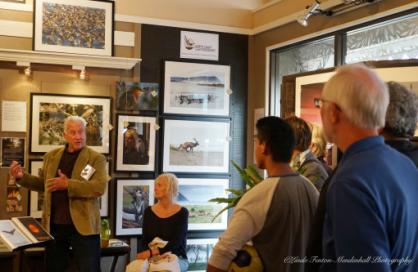 Visitors listen to Neal Maine speak.