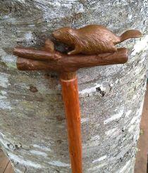Deborah Gordon's beaver walking stick/close up