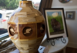 Intricate wood vase for BEAVER TALES Pop-Up Gallery