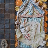 """House of the Rising Suns"" Mosaic using handmade ceramics and natural stone Charlotte Bruhn"