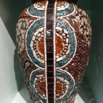 """Tapestry Vase"" Mosaic using beads, semi-precious stones and crockery Kath Jones"